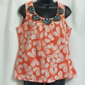 Boden Beautifully Beaded Sleeveless Orange Blouse